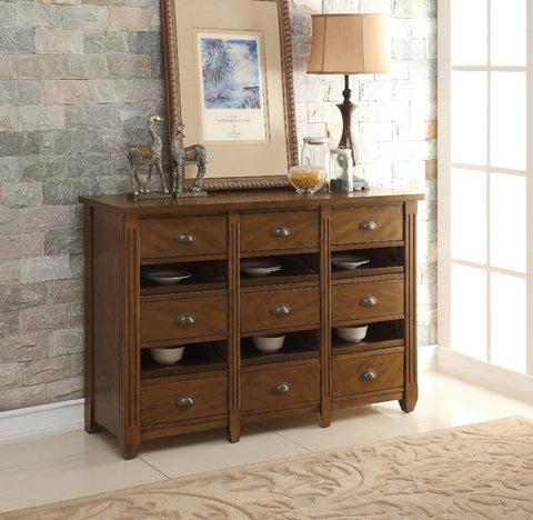Wooden Server With 9 Drawers and 6 Trays