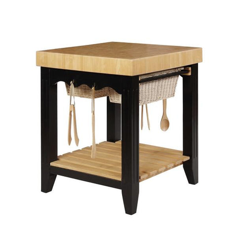 Wooden Square Kitchen Island With Basket Pull Out Drawers