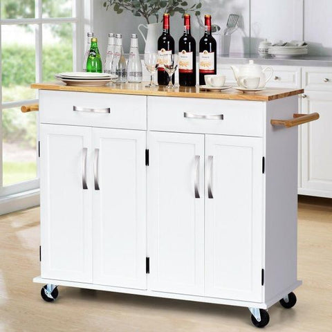 Wood Top Rolling Kitchen Trolley