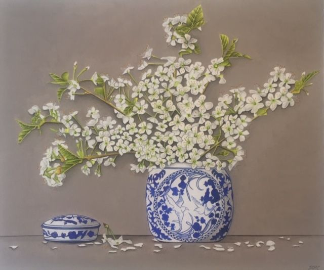 Cherry Blossom in a Blue Vase