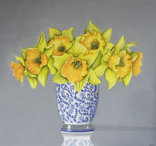 Load image into Gallery viewer, Daffodils in Blue Vase