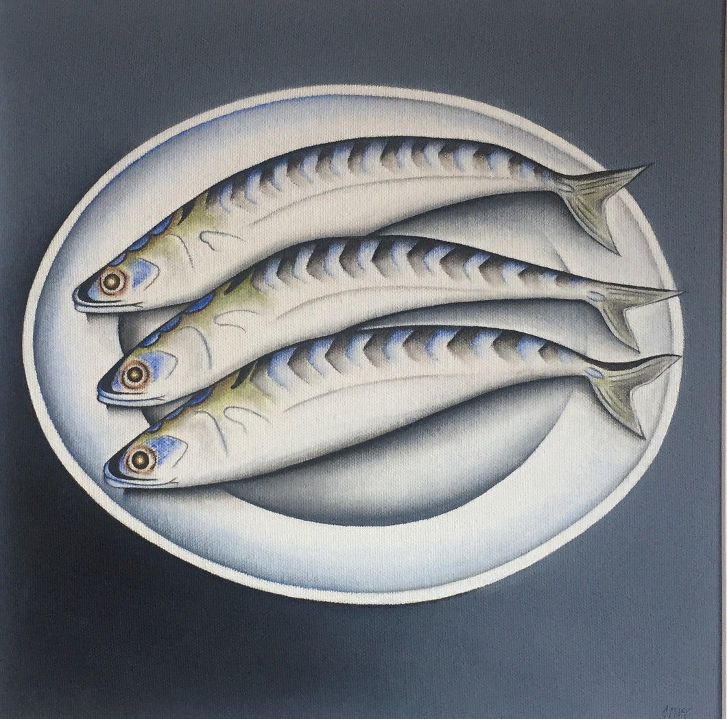 3 Mackerel on a plate