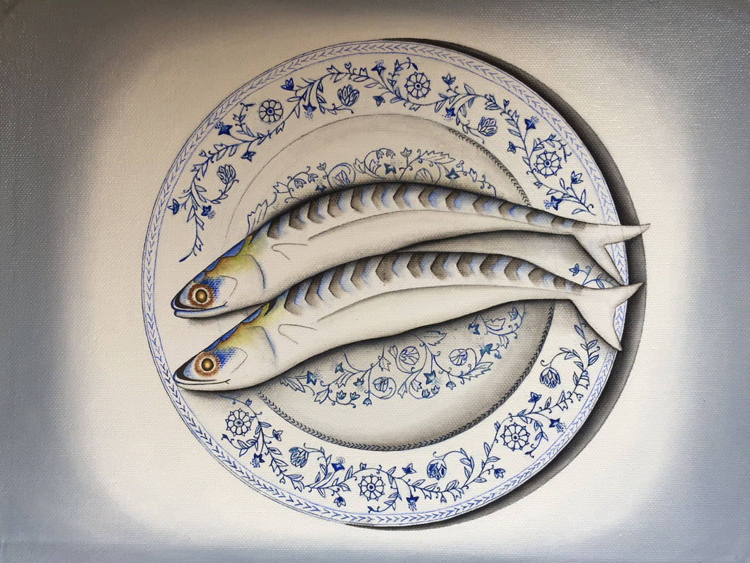 Mackerel on antique serving plate