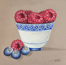 Load image into Gallery viewer, Little blue pot of raspberries