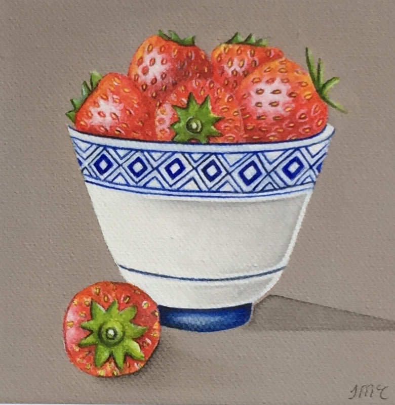 Little blue pot of strawberries