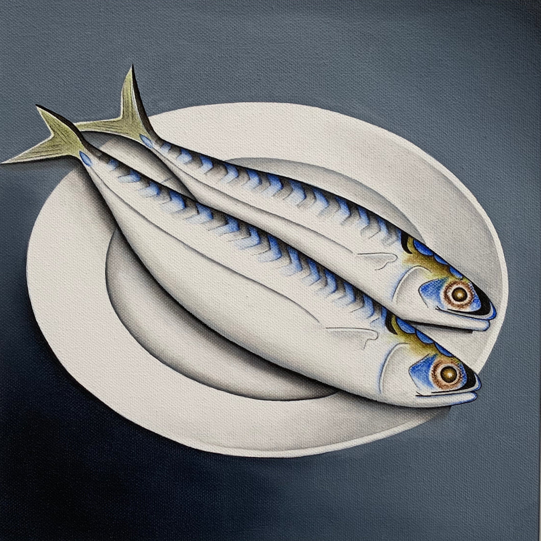 2 Mackerel on a plate