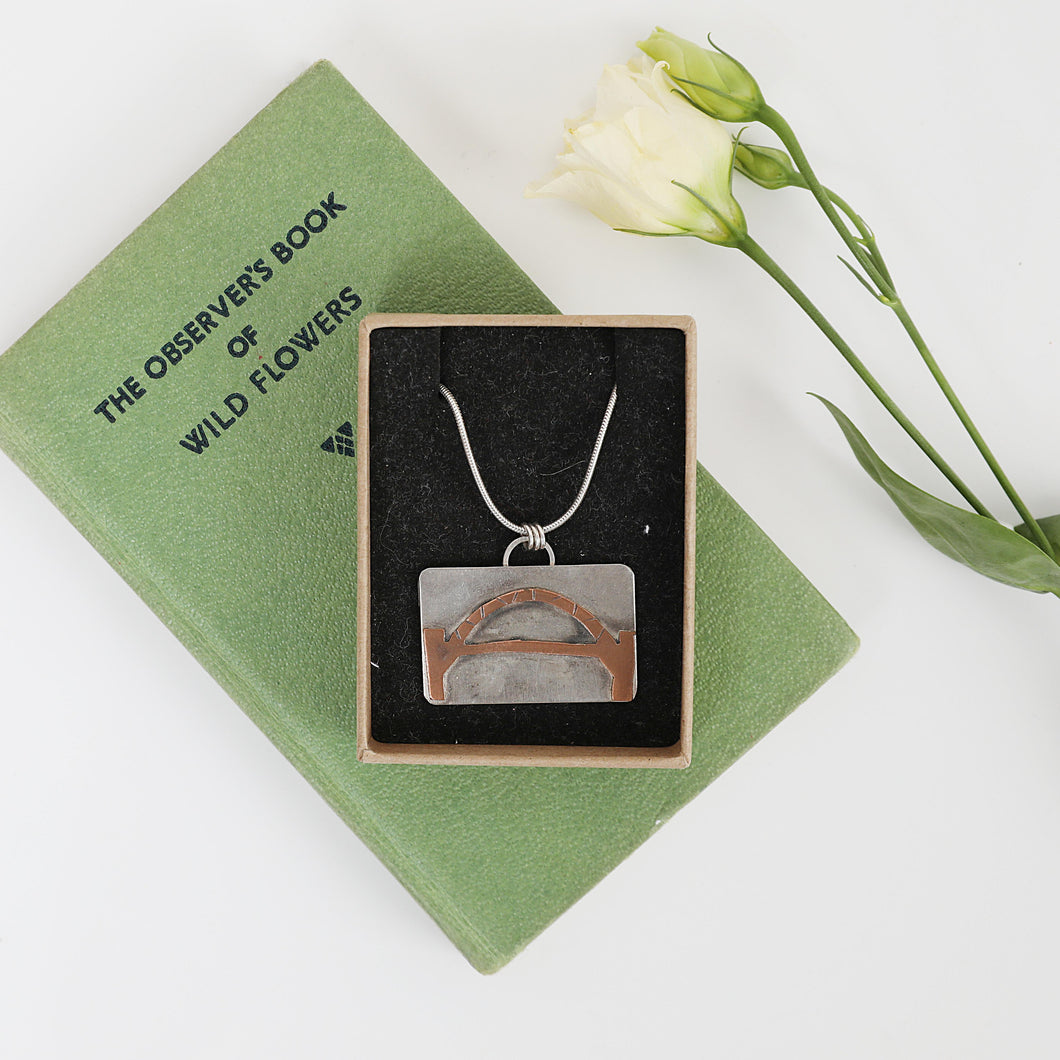 Tyne Bridge sterling silver and copper handmade necklace