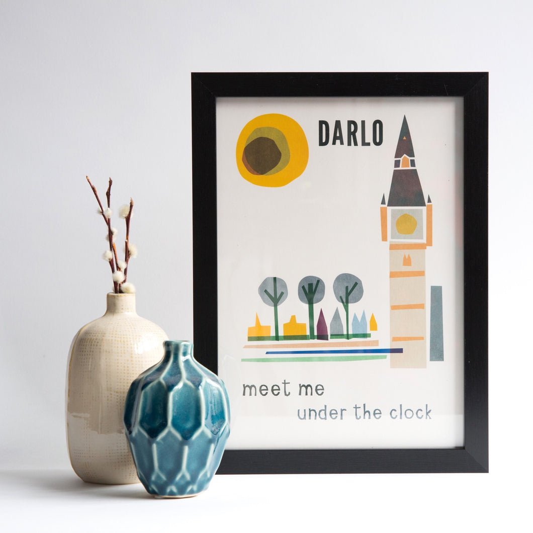 Meet me under the clock, Darlington A4 unframed print