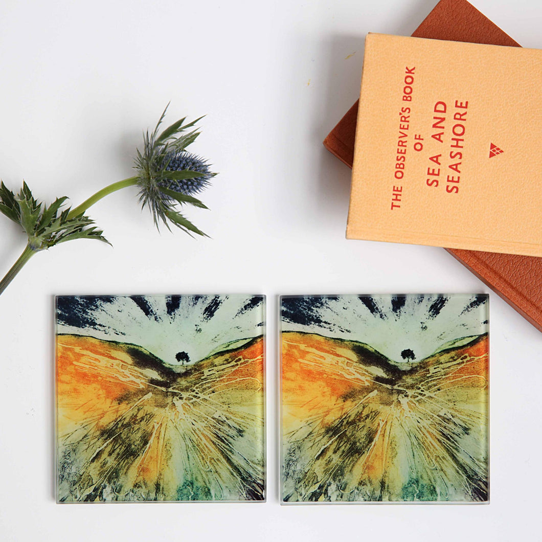 Sycamore Gap Glass Tile Coasters x 2