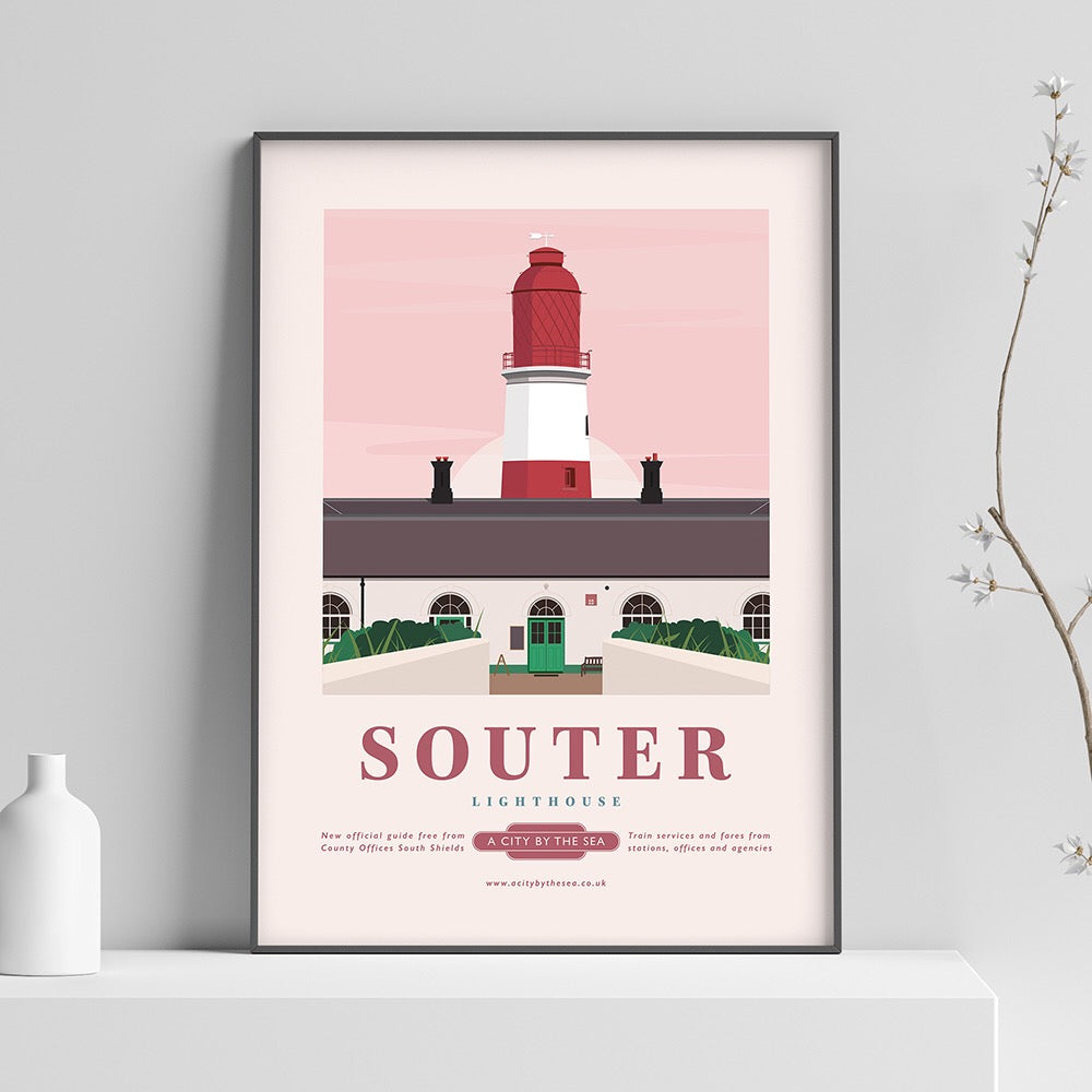 Souter Lighthouse, South Shields A4 unframed print