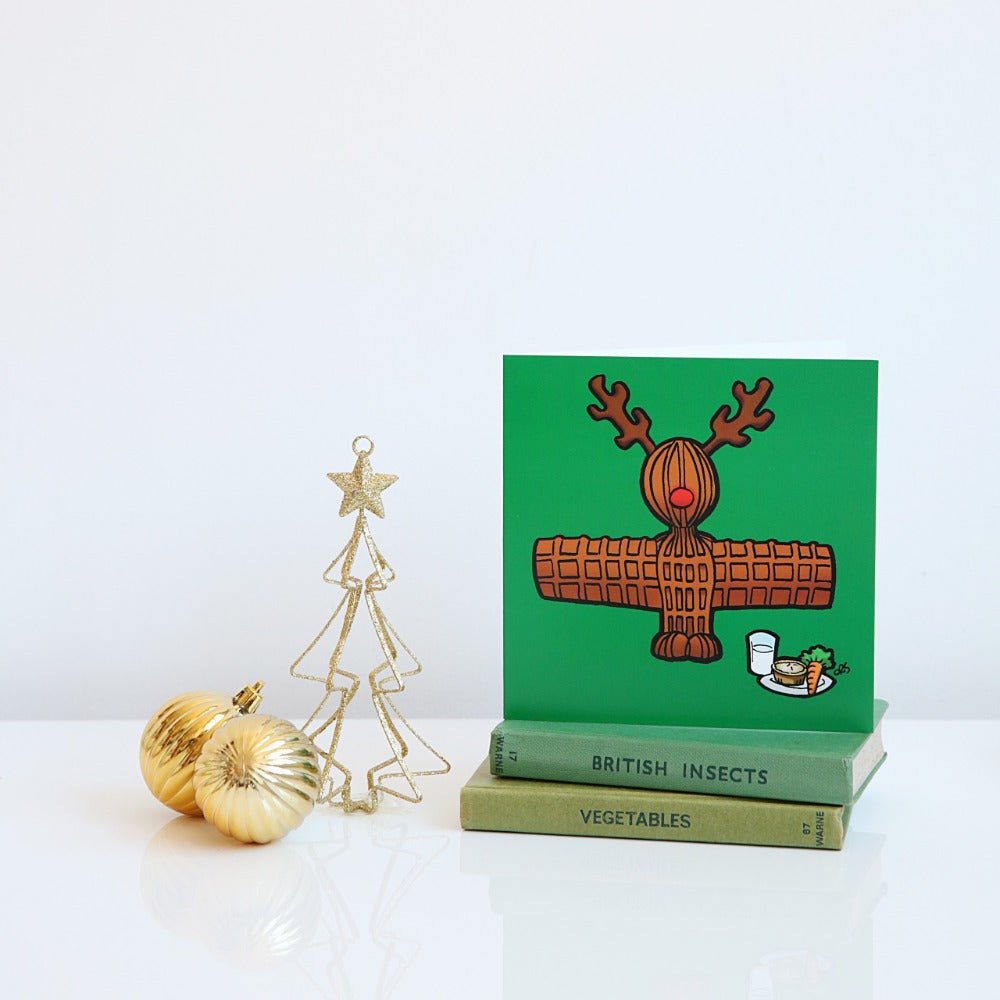 Wor Reindeer Angel Christmas card