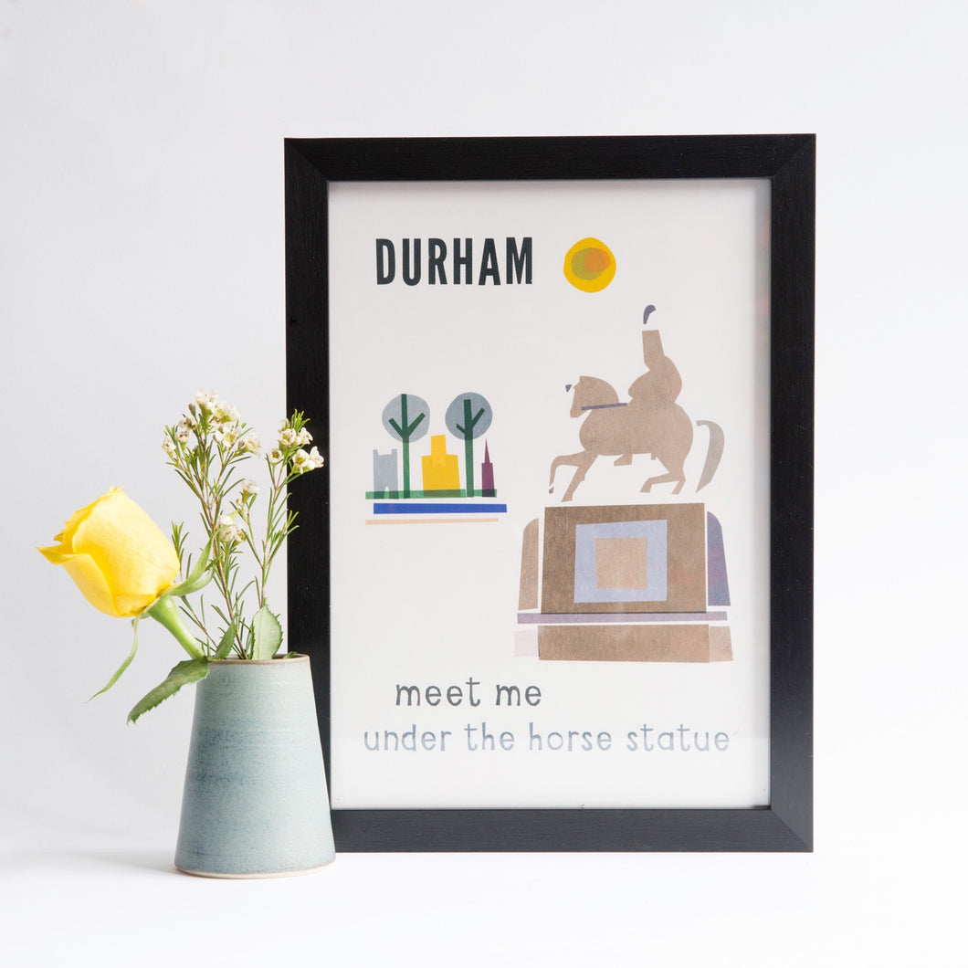Durham - Meet Me Under The Horse Statue A4 unframed print