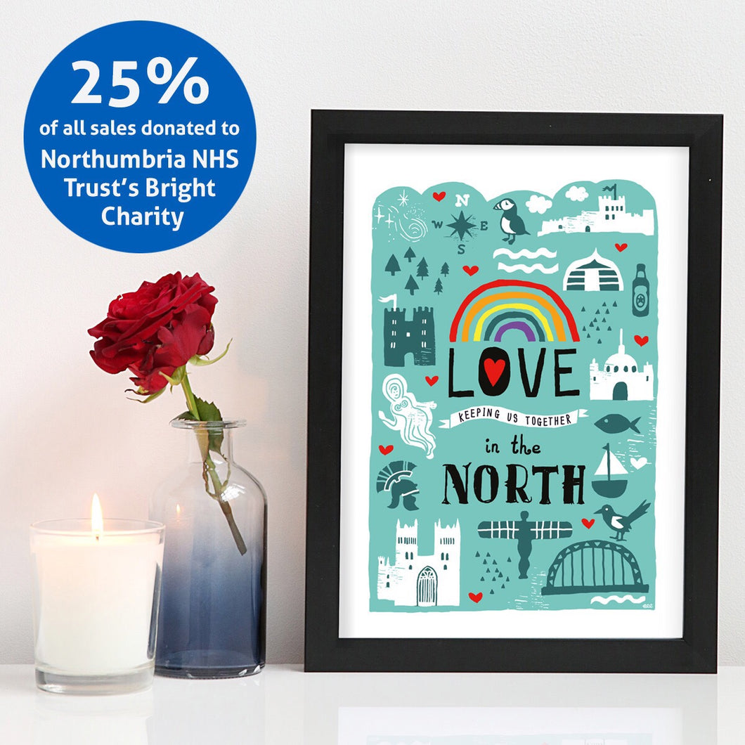 Love in the North A4 unframed print