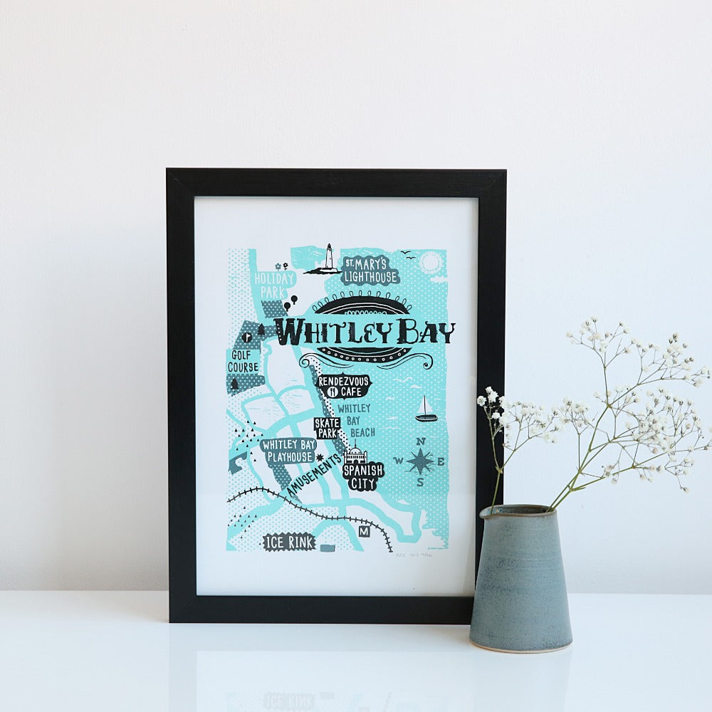 Whitley Bay map A4 & A3 unframed print