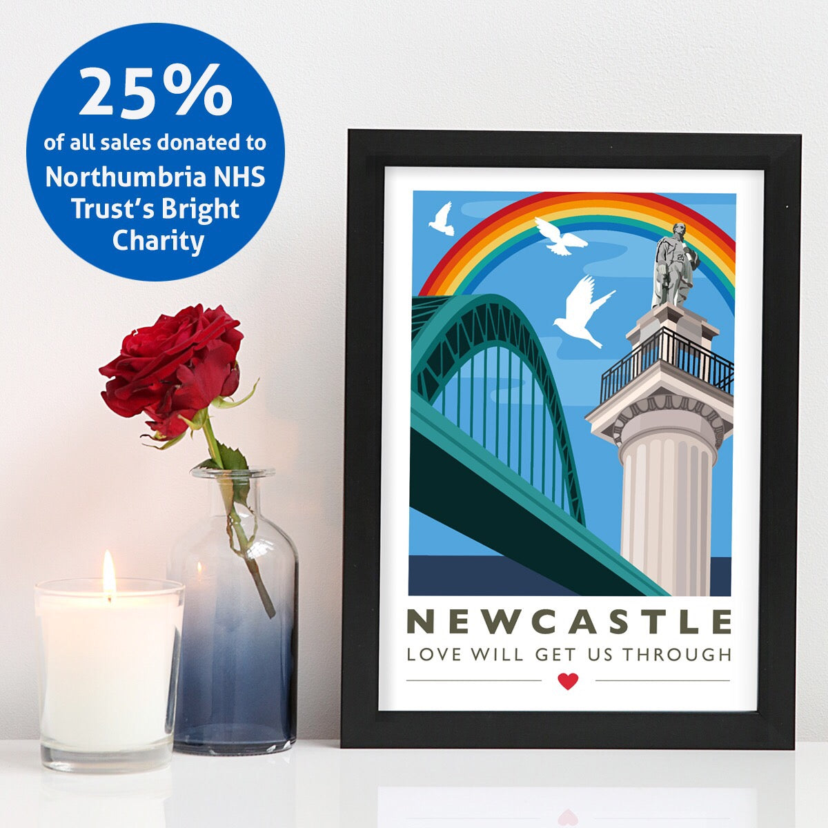 Newcastle 'Love will get us through' A4 unframed print