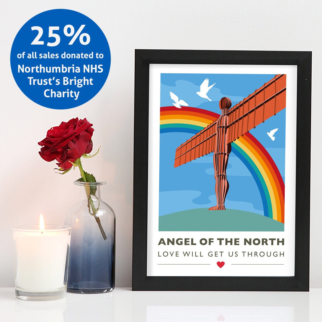 Angel of the North Love will get us through A4 unframed print