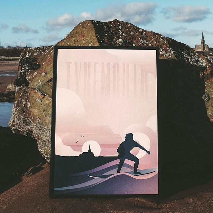 Tynemouth Surfer A4 & A3 unframed print