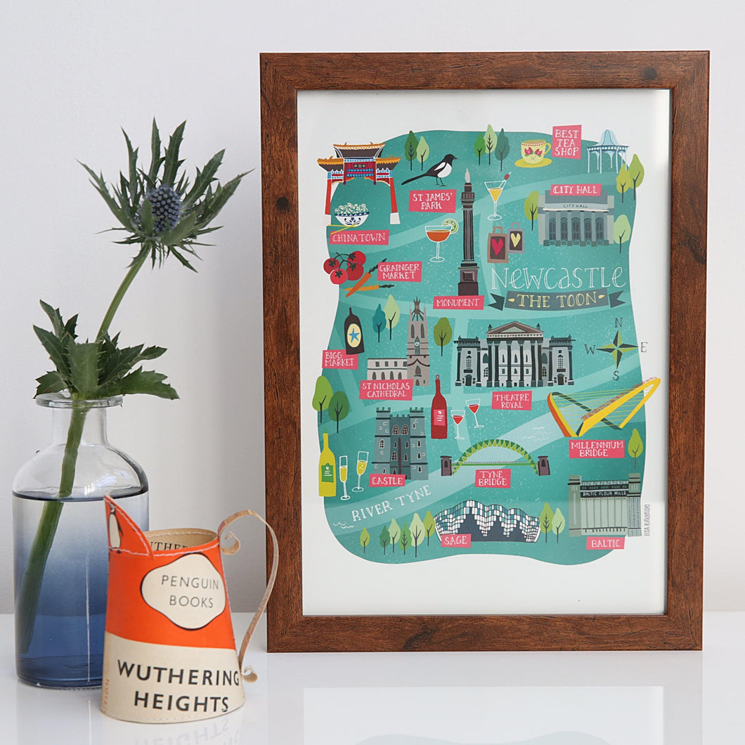 Newcastle Map A4 & A3 unframed print
