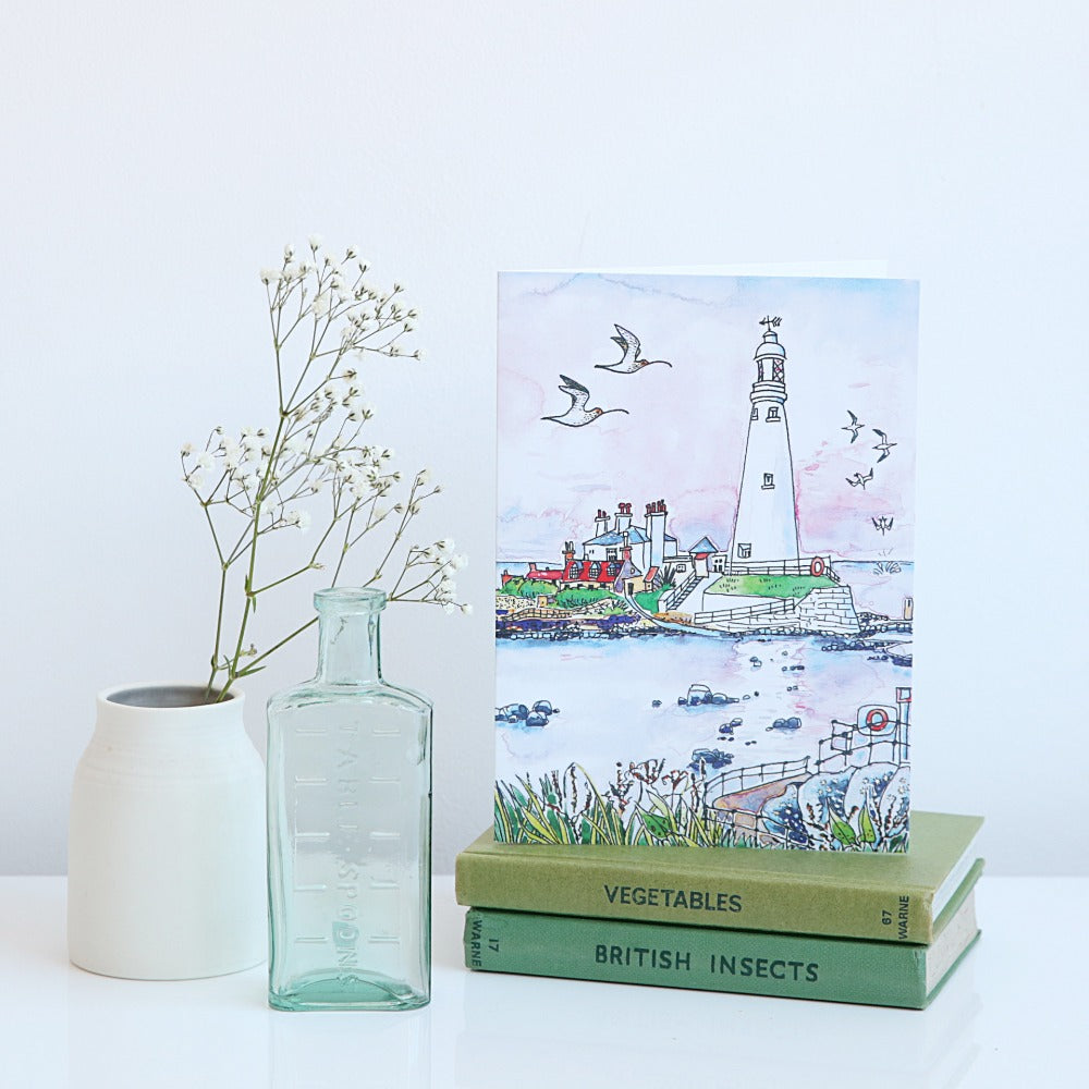 St Mary's Lighthouse and gulls card