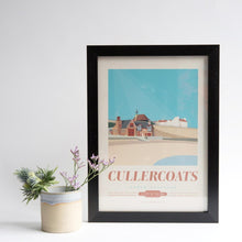 Load image into Gallery viewer, Cullercoats Travel Poster A4 and A3 unframed print