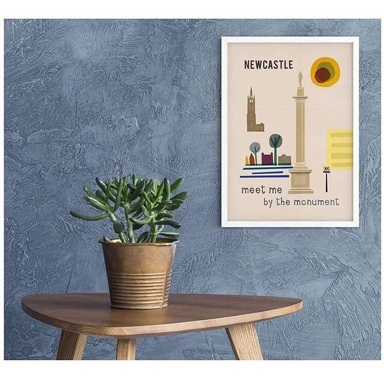 Newcastle - meet me at the monument A4  & A3 unframed print