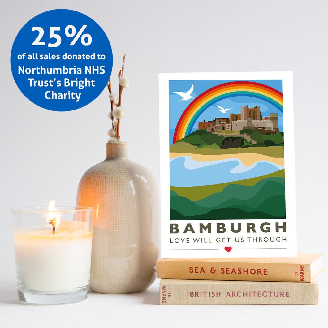 Set of 5 Bamburgh 'Love will get us through' cards