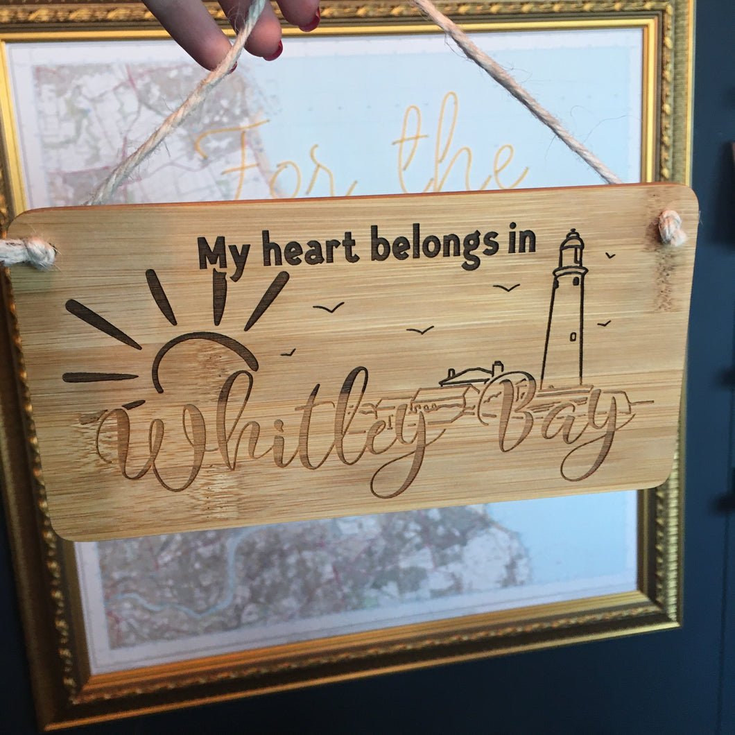 My Heart Belongs to Whitley Bay - St Mary's Lighthouse wooden sign