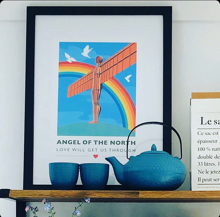 Angel of the North 'Love will get us through' A4 unframed print