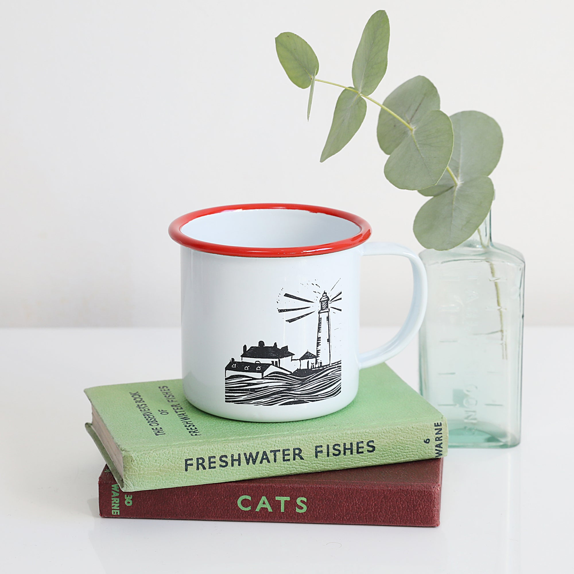 St Mary's Lighthouse Enamel Mug