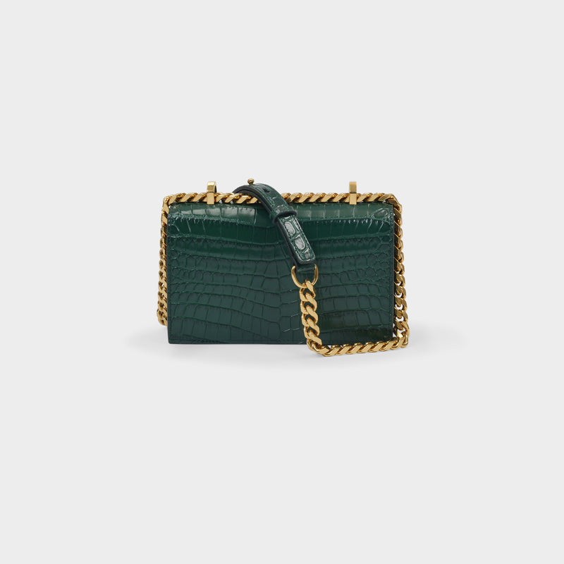Mini Sac Jewelled Stachel en Cuir Embrossé Vert Emeraude
