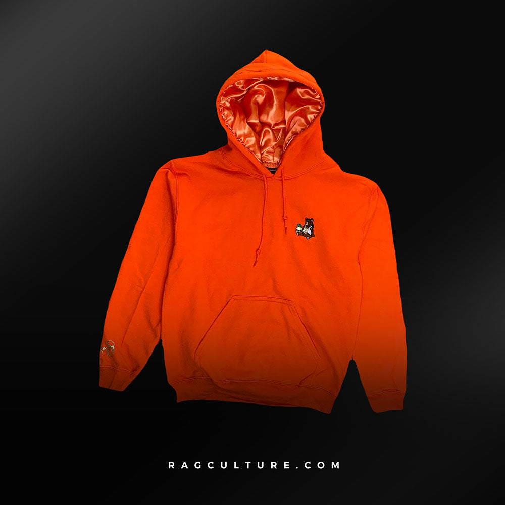 Orange Satin Lined Hoodie - RagCulture