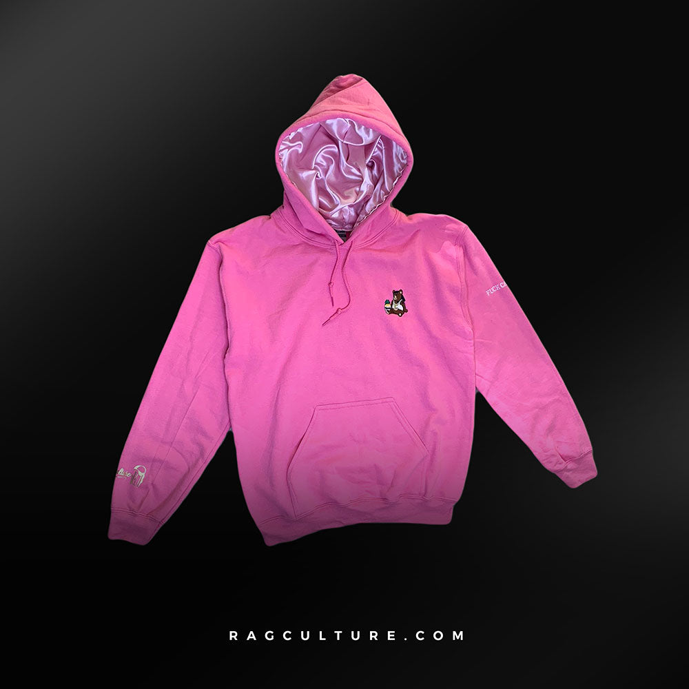 Pink Satin Lined Hoodie (Breast Cancer Awareness) - RagCulture