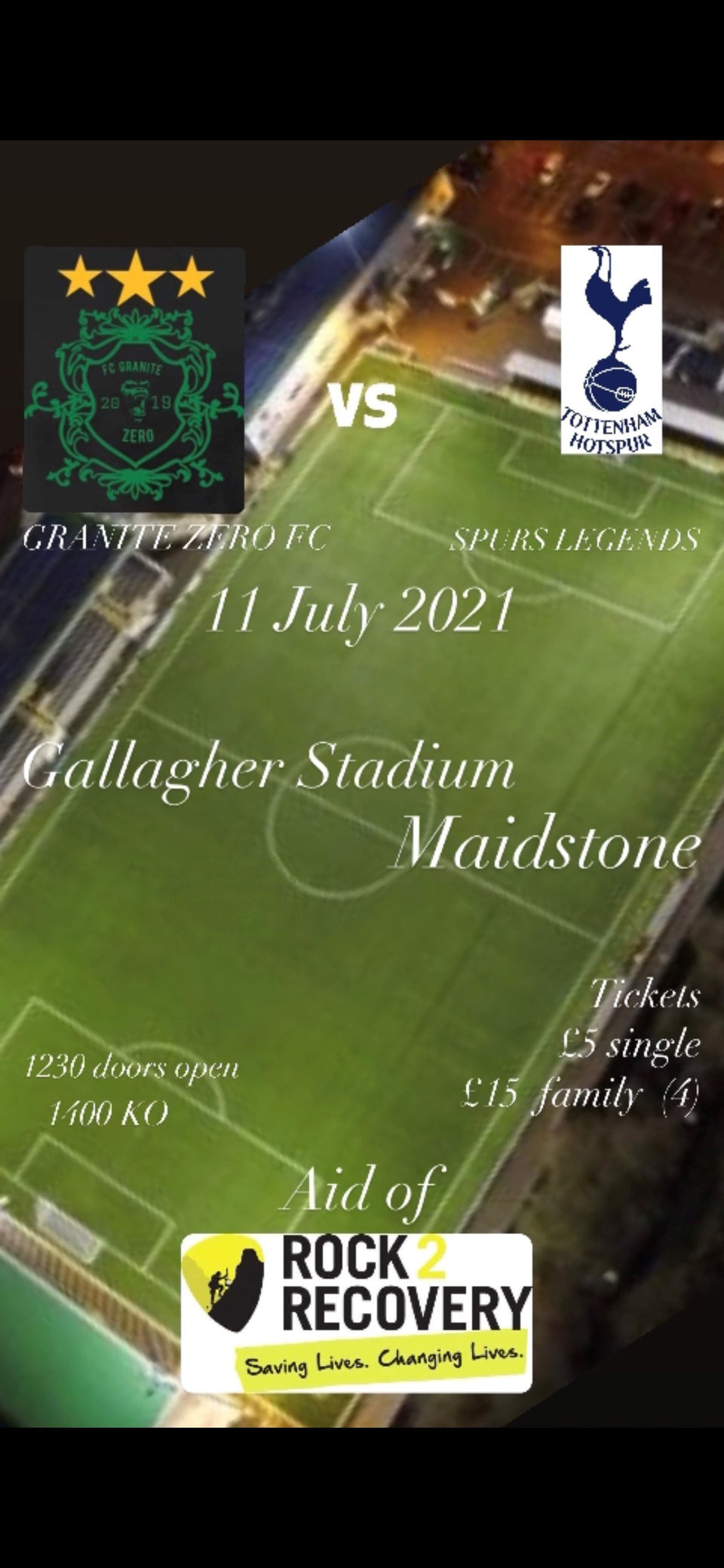 11th July 2021 Granite Zero FC vs Spurs Legends - Galagher Stadium Maidstone