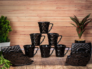BLACK DIAMOND CUPS & SAUCER SET OF 6