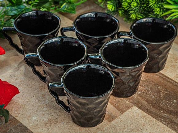 BLACK DIAMOND CUT TEA CUPS SET OF 6