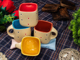 IVORY DOTTED SQUARE TEA CUPS