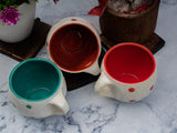 WHITE DOTTED ROUND PARI TEA CUPS