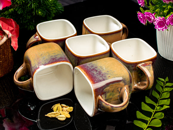 BROWN SQUARE TEA CUPS