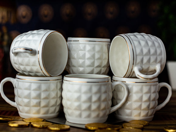 BONE CHINA DIAMOND CUT TEA CUPS