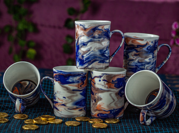 BLUE ITALIAN MARBLE PRINT MUG BONE CHINA