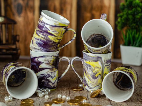 YELLOW ITALIAN MARBLE PRINT MUG BONE CHINA