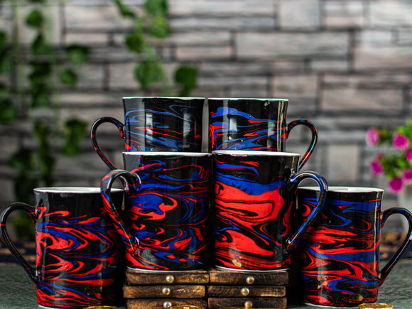 RED AND BLACK ITALIAN MARBLE PRINT MUG BONE CHINA