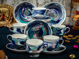 BLUE CUPS & SAUCCER BONE CHINA