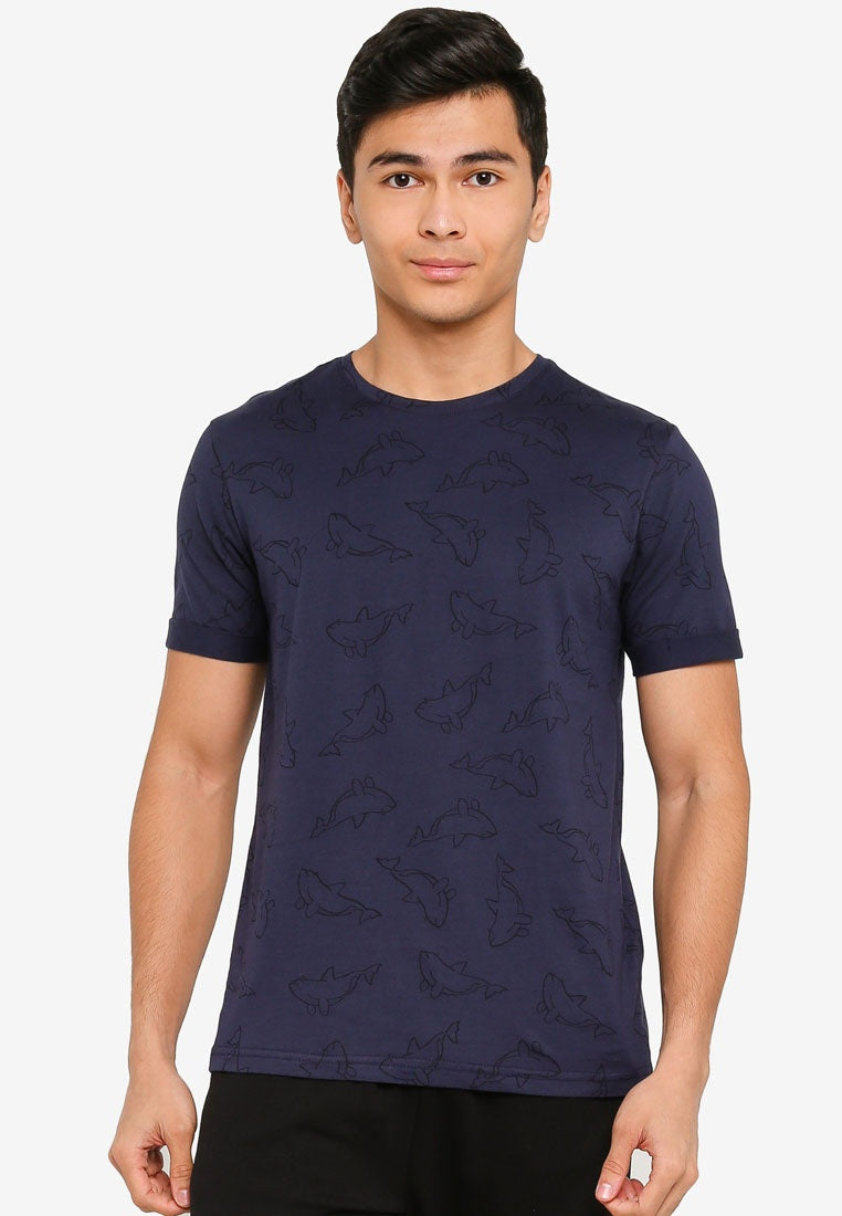 Dolphin Printed with Folded Cuff Tee - UniqTee Tokyo Style