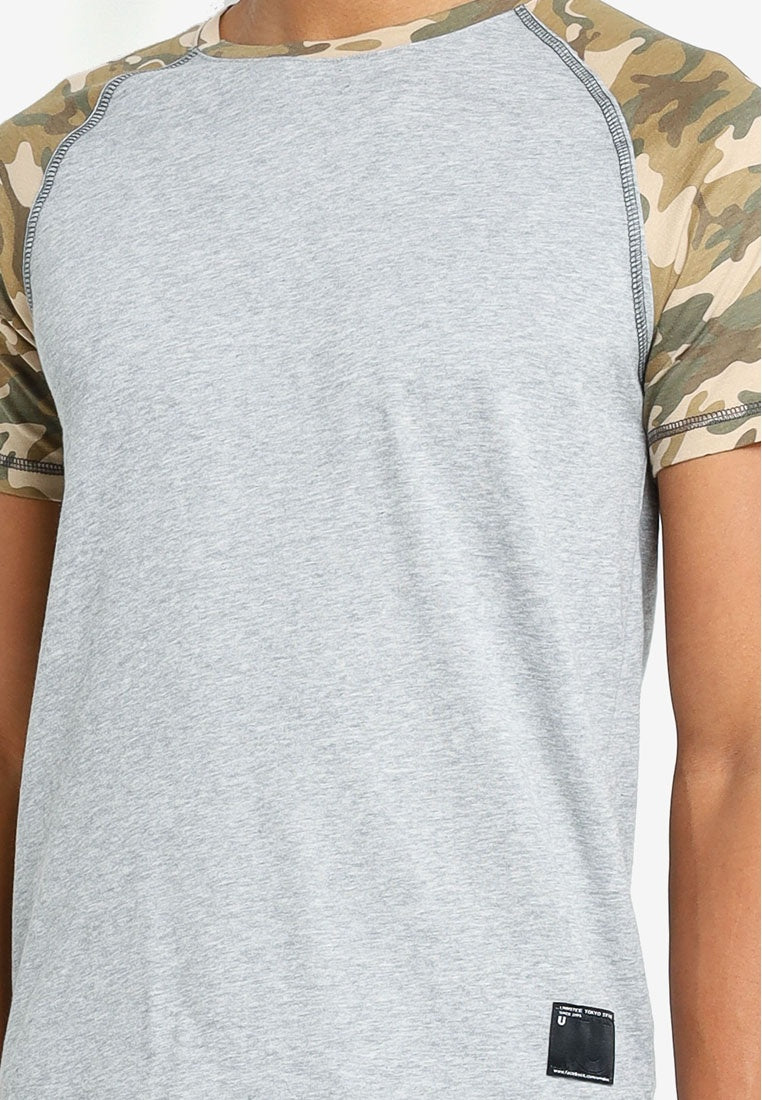Camo Sleeves Contrast Tee - UniqTee Tokyo Style
