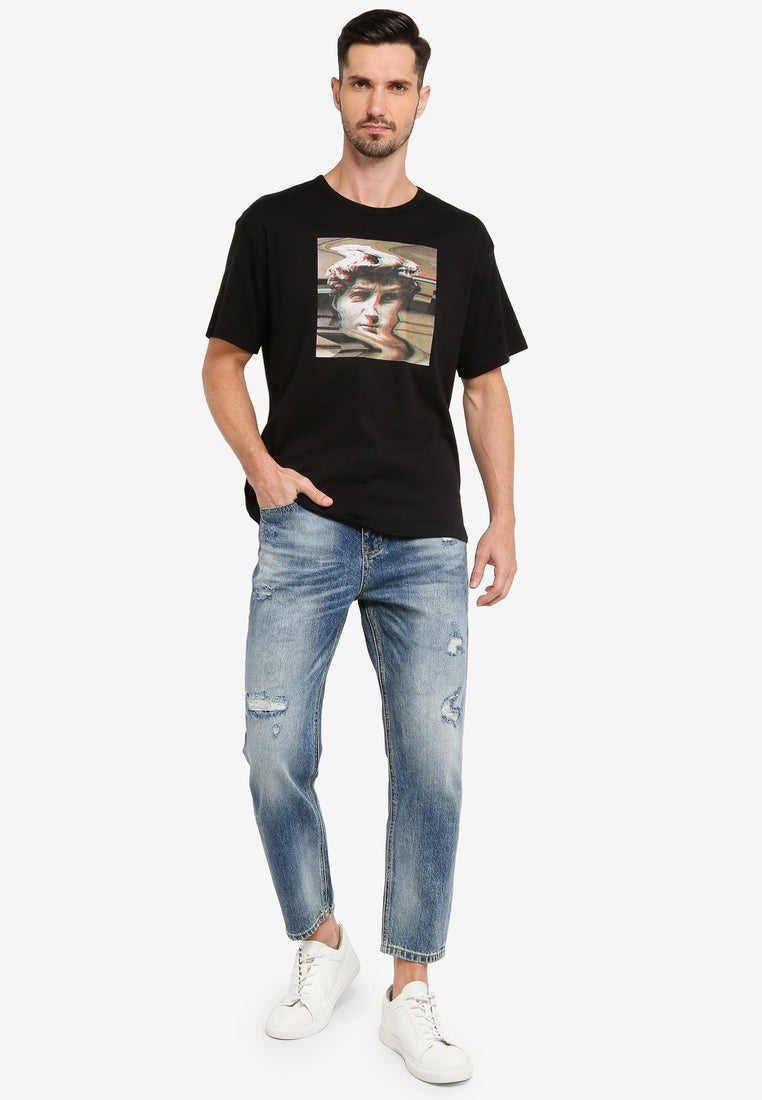 Mid Wash Ripped Organic Cotton Jeans