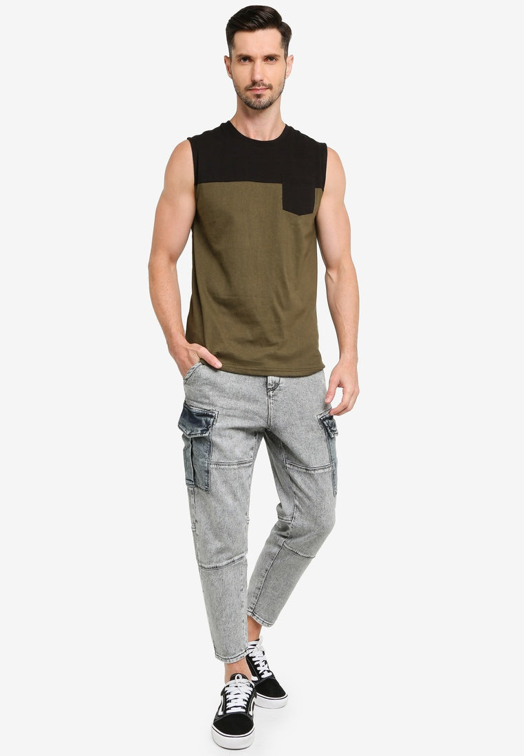 Colorblock Tank Top With Pocket - UniqTee Tokyo Style