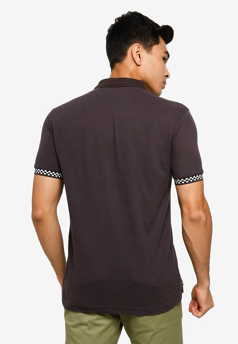 Polo Shirt With Checkered Cuff