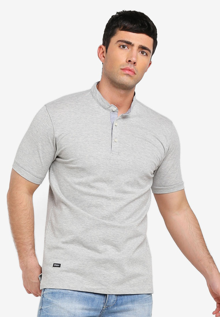 Mandarin Collar Short Sleeve Polo