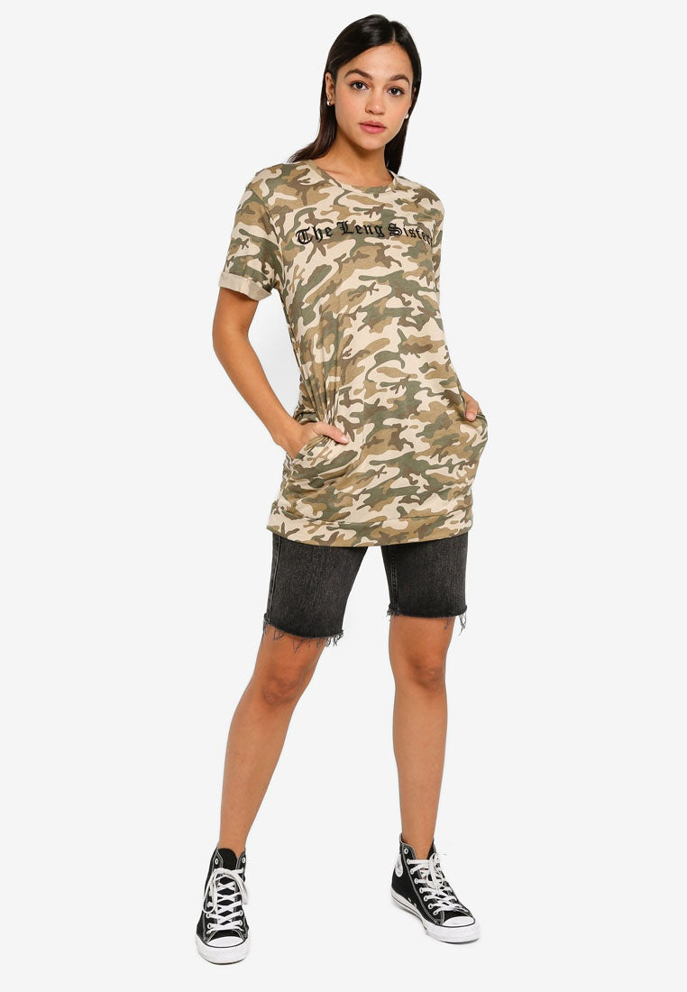 Camo Folded Sleeves Longline Top